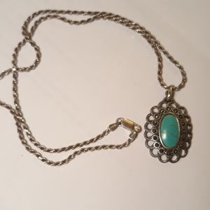 Vintage Sterling Turquoise Marcasite Necklace